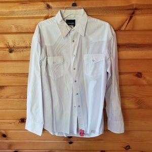 Men's Wrangler White, Pearl Snap, Western Shirt
